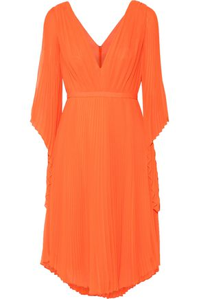 HALSTON HERITAGE Cutout plissé-georgette dress
