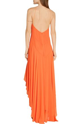 HALSTON HERITAGE Asymmetric georgette gown