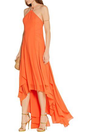 HALSTON HERITAGE Asymmetric georgette gown