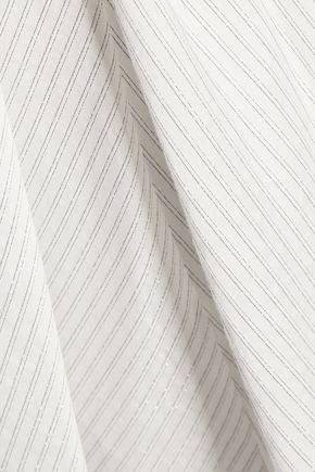 HALSTON HERITAGE Wrap-effect metallic striped cotton-blend dress