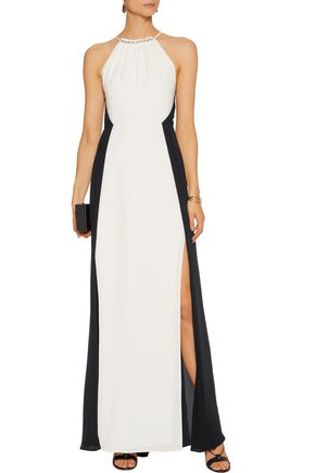 HALSTON HERITAGE Two-tone draped crepe gown