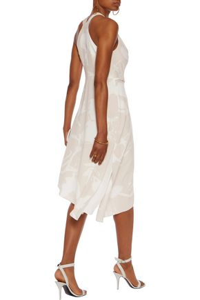 HALSTON HERITAGE Asymmetric printed crepe de chine midi dress