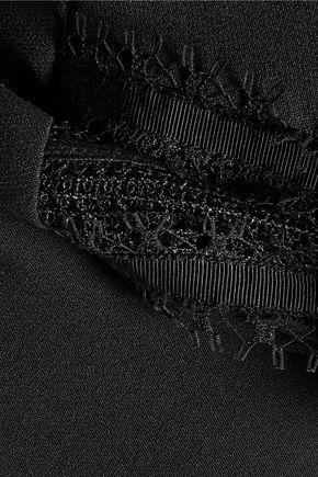ROLAND MOURET Clairvale lace-paneled crepe midi dress