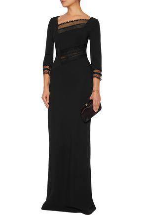 ROLAND MOURET Lace-trimmed crepe gown