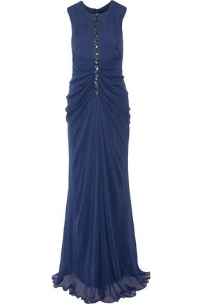 J. MENDEL Embellished ruched silk-chiffon gown