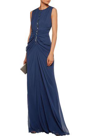 J.MENDEL Embellished ruched silk-chiffon gown