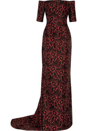 J. MENDEL Off-the-shoulder jacquard gown