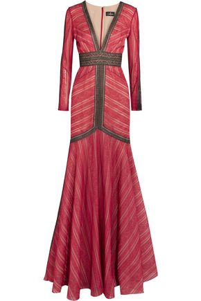 J. MENDEL Two-tone lace gown