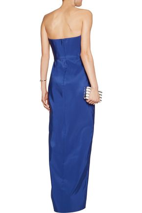 J.MENDEL Strapless two-tone ruched silk gown