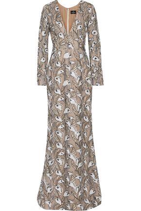 J. MENDEL Embellished embroidered silk-organza gown