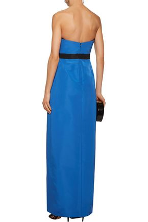 J. MENDEL Two-tone pleated silk-faille gown