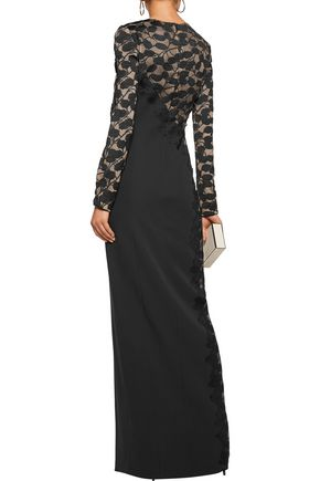 J. MENDEL Lace-paneled silk-crepe gown