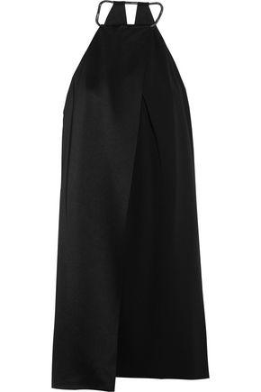 HALSTON HERITAGE Draped satin and crepe mini dress