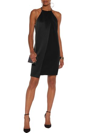 HALSTON HERITAGE Draped satin and crepe mini dress