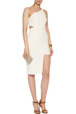 HALSTON HERITAGE One-shoulder cutout crepe dress