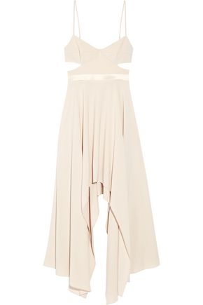 HALSTON HERITAGE Cutout satin-trimmed stretch-crepe dress