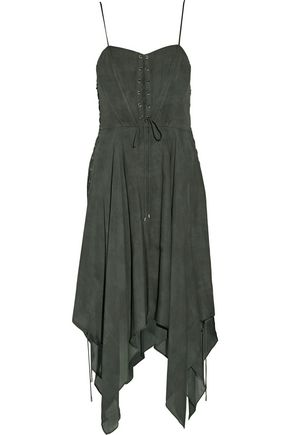 HAUTE HIPPIE Brownstone lace-up asymmetric silk crepe de chine dress