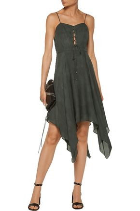 HAUTE HIPPIE Brownstone lace-up ruffled silk-chiffon midi dress