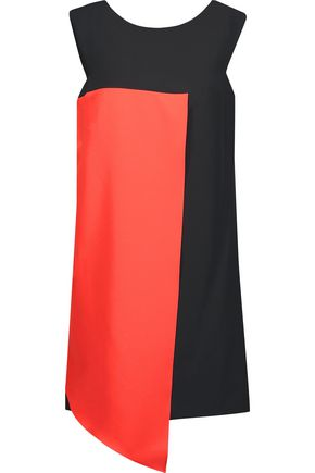 MILLY Asymmetric two-tone stretch-cady mini dress