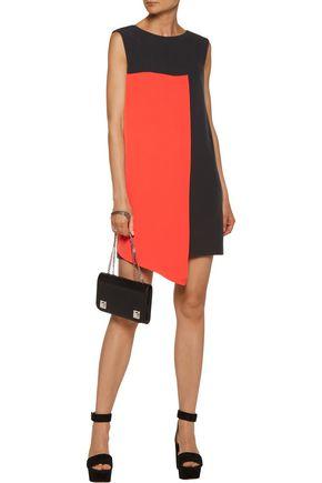 MILLY Asymmetric two-tone stretch-cady mini dress