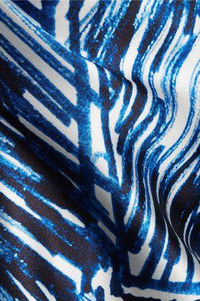 MILLY Printed satin-twill mini dress