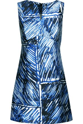 MILLY Printed satin-twill mini dress