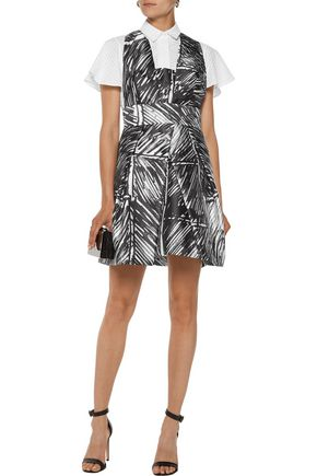 MILLY Elisa pleated printed satin-twill mini dress