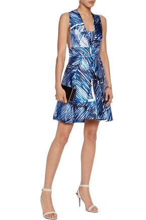 MILLY Elisa pleated printed satin-twill mini dress