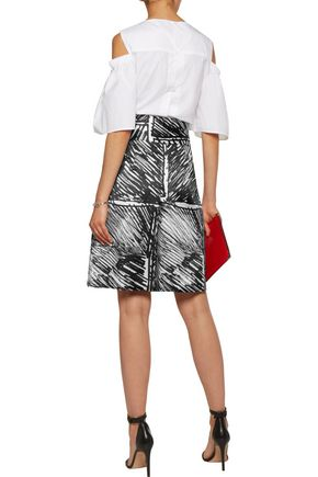 MILLY Printed pleated satin-twill culottes