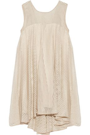 MILLY Charlene asymmetric layered net and silk dress