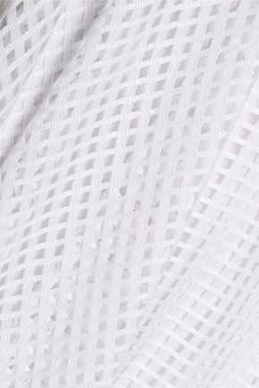 MILLY Charlene asymmetric layered net and silk dress