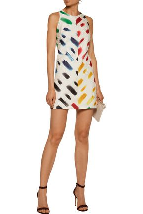 MILLY Printed crinkled-gauze mini dress