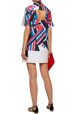 MILLY Silk tulle-paneled printed stretch-cotton mini dress