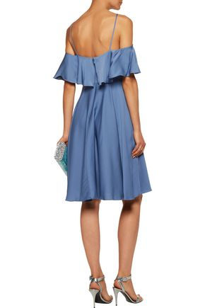 MILLY Emmaline cold-shoulder ruffled silk-blend satin dress