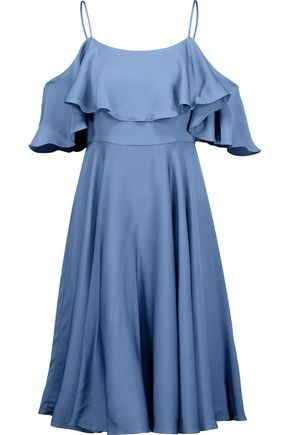 MILLY Emmaline cold-shoulder ruffled silk-blend satin dress