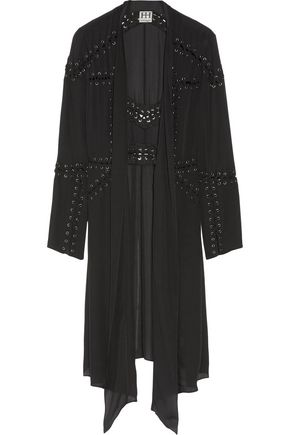HAUTE HIPPIE Fahrenheit lace up-detailed silk crepe de chine jacket