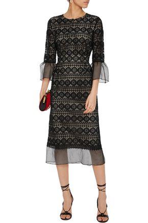 VILSHENKO Ally chiffon-trimmed macramé lace midi dress