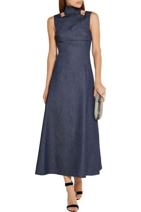 EMILIA WICKSTEAD Mary cutout denim maxi dress