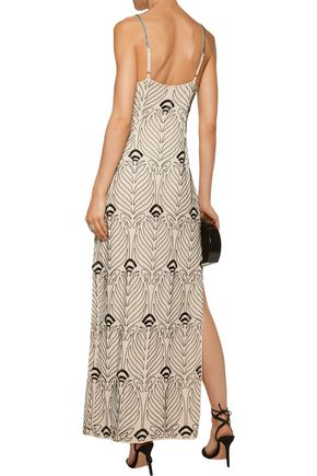 HAUTE HIPPIE Jet appliquéd beaded silk crepe de chine maxi dress