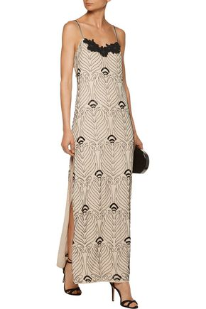 HAUTE HIPPIE Appliquéd beaded silk crepe de chine maxi dress