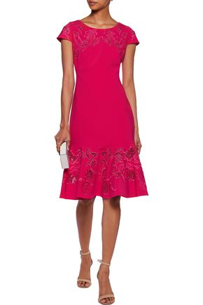 MARCHESA NOTTE Fluted embroidered lace-paneled cady dress