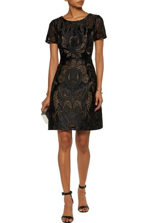 MARCHESA NOTTE Satin corded-lace dress