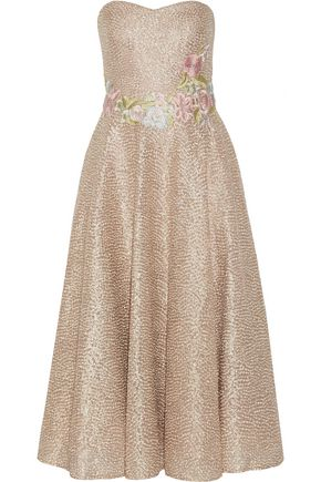 MARCHESA NOTTE Appliquéd embroidered metallic tulle midi dress