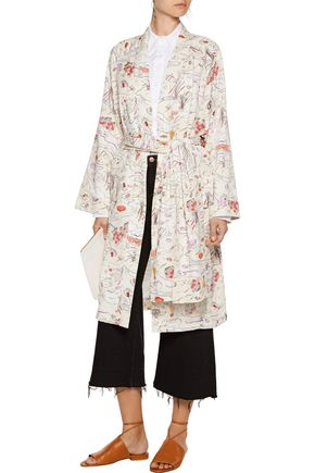 OPENING CEREMONY Story embellished printed satin-twill jacket
