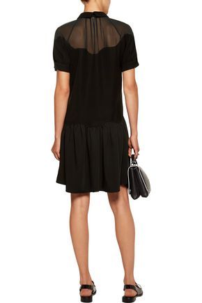 OPENING CEREMONY Chiffon-paneled crepe mini dress