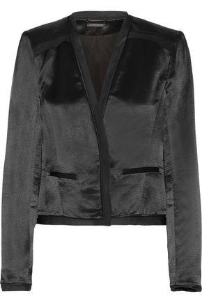 DIANE VON FURSTENBERG Larra silk chiffon-trimmed textured-satin blazer