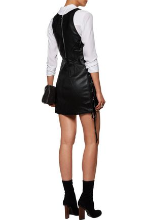 RTA Fifi lace-up glossed-leather mini dress