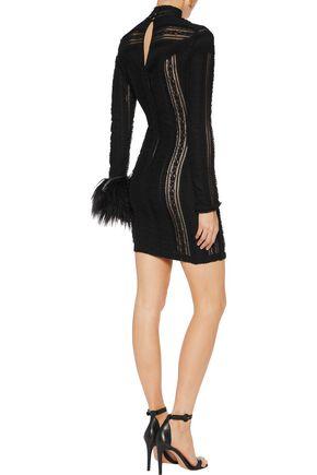 CINQ À SEPT Ruched lace mini dress