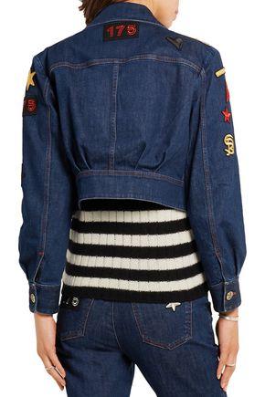 SONIA RYKIEL Cropped embroidered stretch-denim jacket