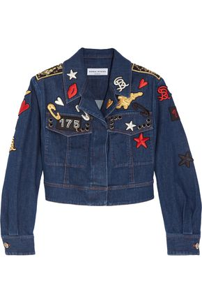SONIA RYKIEL Cropped embroidered stretch-denim jacket